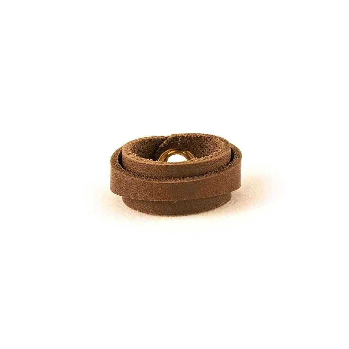 Leather Ring Slim Dark Brown Back