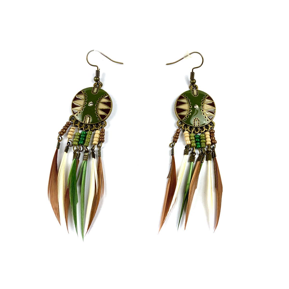 Dreamcatcher Feather Earrings Green/Brown