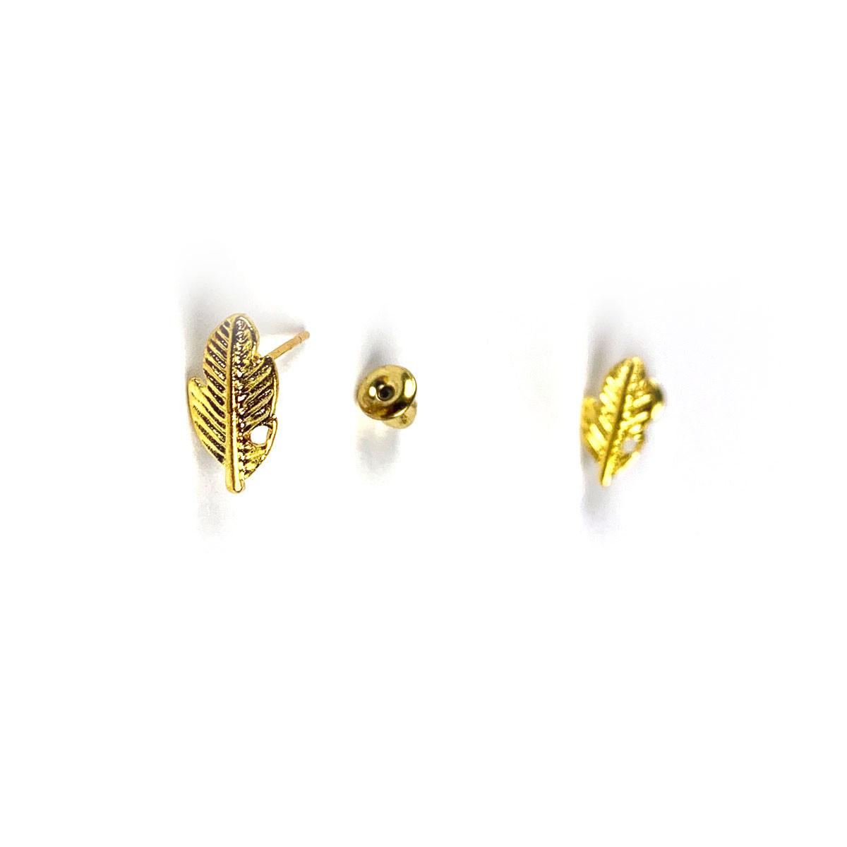 Mini Feather Earrings Gold