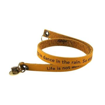 Dark Brown Custom Engraved Leather Bracelet - Double Wrap