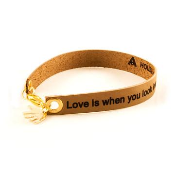 Brown Custom Engraved Leather Bracelet - Single Wrap