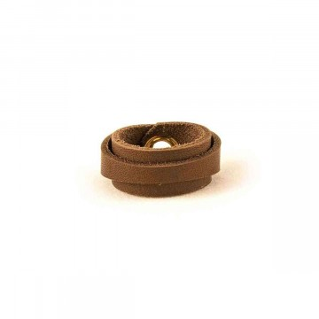 Leather Ring Slim Dark Brown Back