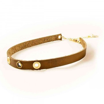 Choker Necklace Leather Eye Dark Brown