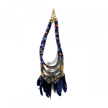 Boho Feather Collier Blue