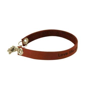 Light Brown Engraved Leather Bracelet - Single Wrap