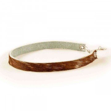 Choker Necklace Leather Cow Print Brown