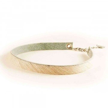 Choker Necklace Leather Cow Print White