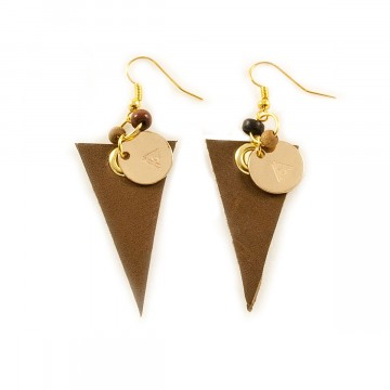 Leather Triangle Earrings