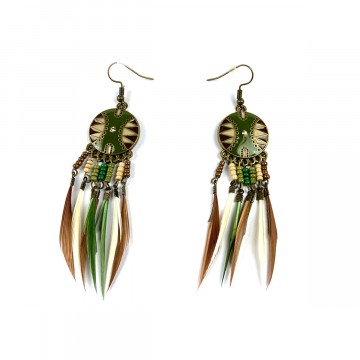 Dreamcatcher Feather Earrings Green/Brown