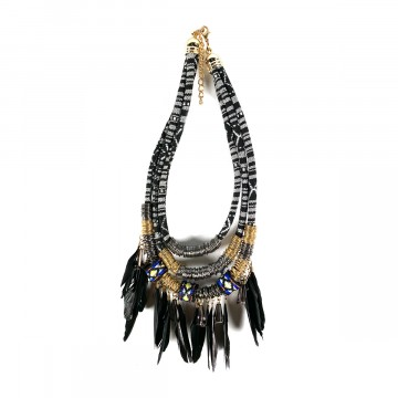 Boho Feather Collier Black