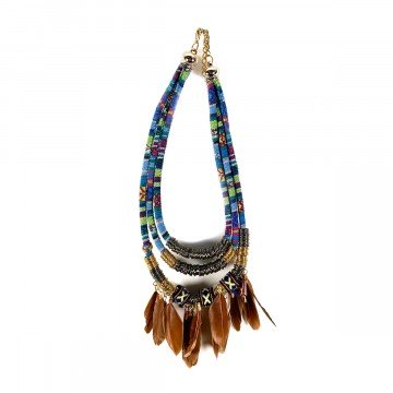 Boho Feather Collier Brown