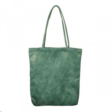 Leather Tote Bag Green Large